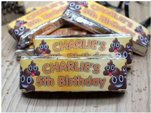 6 x Personalised EMOJI POO Happy Birthday 2 Finger KitKat Chocolate Bars Wrappers - N22